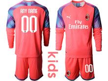 Kids 19-20 Soccer Ac Milan Club ( Custom Made ) Pink Goalkeeper Long Sleeve Suit Jersey