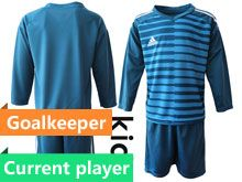 Kids 19-20 Soccer Ac Milan Club ( Custom Made ) Blue Goalkeeper Long Sleeve Suit Jersey