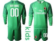 Kids 19-20 Soccer Ac Milan Club ( Custom Made ) Green Goalkeeper Long Sleeve Suit Jersey