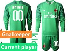 Kids 19-20 Soccer Ac Milan Club Current Player Green Goalkeeper Long Sleeve Suit Jersey