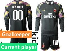 Kids 19-20 Soccer Ac Milan Club Current Player Black Goalkeeper Long Sleeve Suit Jersey