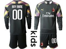 Kids 19-20 Soccer Ac Milan Club ( Custom Made ) Black Goalkeeper Long Sleeve Suit Jersey