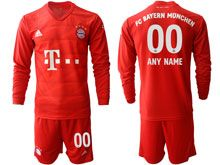 Mens 19-20 Soccer Bayern Munchen ( Custom Made ) Red Home Long Sleeve Suit Jersey