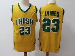 Mens Ncaa Nba Notre Dame Fighting Irish #23 Lebron James Yellow High School Edition Nike Jersey