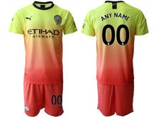 Mens 19-20 Soccer Manchester City Club ( Custom Made ) Yellow Away Short Sleeve Suit Jersey