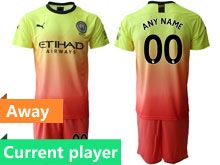 Mens 19-20 Soccer Manchester City Club Current Player Yellow Away Short Sleeve Suit Jersey