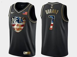 Mens Nba Brooklyn Nets #7 Kevin Durant Black Independence Day Golden Edition Jersey