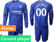 Mens 19-20 Soccer Chelsea Club Current Player Blue Home Long Sleeve Suit Jersey