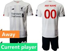 Mens 19-20 Soccer Liverpool Club Current Player White Away Short Sleeve Suit Jersey