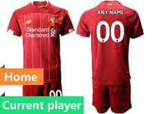 Mens 19-20 Soccer Liverpool Club Current Player Red Home Short Sleeve Suit Jersey