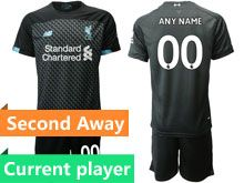Mens 19-20 Soccer Liverpool Club Current Player Black Second Away Short Sleeve Suit Jersey