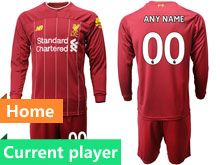 Mens 19-20 Soccer Liverpool Club Current Player Red Home Long Sleeve Suit Jersey