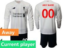 Mens 19-20 Soccer Liverpool Club Current Player White Away Long Sleeve Suit Jersey