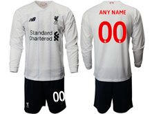 Mens 19-20 Soccer Liverpool Club ( Custom Made ) White Away Long Sleeve Suit Jersey