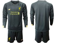 Mens 19-20 Soccer Liverpool Club ( Custom Made ) Black Second Away Long Sleeve Suit Jersey
