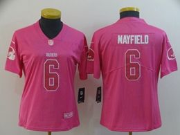 Women Cleveland Browns #6 Baker Mayfield Pink Vapor Untouchable Limited Player Jersey