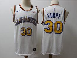 Mens 2019-20 Nba Golden State Warriors #30 Stephen Curry White Gold Number Nike Swingman Jersey