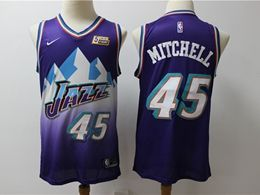 Mens Nba Utah Jazz #45 Donovan Mitchell Purple New Season Nike Swingman Hardwood Classics Jersey