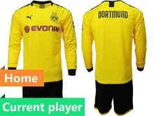Mens 19-20 Soccer Borussia Dortmund Club Current Player Yellow Home Long Sleeve Suit Jersey