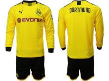 Mens 19-20 Soccer Borussia Dortmund Club ( Custom Made ) Yellow Home Long Sleeve Suit Jersey
