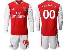 Mens 19-20 Soccer Arsenal Club ( Custom Made ) Red Home Long Sleeve Suit Jersey