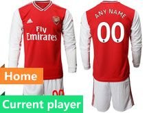 Mens 19-20 Soccer Arsenal Club Current Player Red Home Long Sleeve Suit Jersey