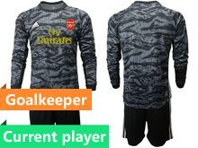 Mens 19-20 Soccer Arsenal Club Current Player Black Goalkeeper Long Sleeve Suit Jersey