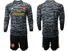 Mens 19-20 Soccer Arsenal Club ( Custom Made ) Black Goalkeeper Long Sleeve Suit Jersey