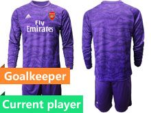 Mens 19-20 Soccer Arsenal Club Current Player Purple Goalkeeper Long Sleeve Suit Jersey