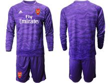 Mens 19-20 Soccer Arsenal Club ( Custom Made ) Purple Goalkeeper Long Sleeve Suit Jersey