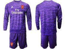 Mens 19-20 Soccer Arsenal Club ( Custom Made ) Purple Goalkeeper Long Sleeve Suit Jersey
