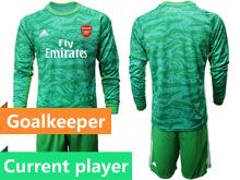 Mens 19-20 Soccer Arsenal Club Current Player Green Goalkeeper Long Sleeve Suit Jersey