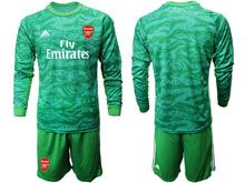 Mens 19-20 Soccer Arsenal Club ( Custom Made ) Green Goalkeeper Long Sleeve Suit Jersey