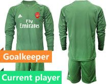 Mens 19-20 Soccer Arsenal Club Current Player Army Green Goalkeeper Long Sleeve Suit Jersey