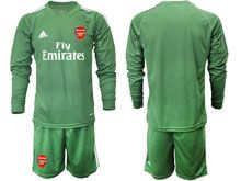 Mens 19-20 Soccer Arsenal Club ( Custom Made ) Army Green Goalkeeper Long Sleeve Suit Jersey