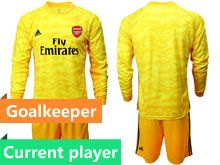 Mens 19-20 Soccer Arsenal Club Current Player Yellow Goalkeeper Long Sleeve Suit Jersey
