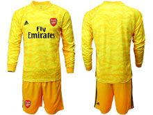 Mens 19-20 Soccer Arsenal Club ( Custom Made ) Yellow Goalkeeper Long Sleeve Suit Jersey