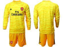 Mens 19-20 Soccer Arsenal Club ( Custom Made ) Yellow Goalkeeper Long Sleeve Suit Jersey