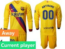 Mens 19-20 Soccer Barcelona Club Current Player Yellow Away Long Sleeve Suit Jersey