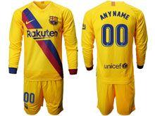 Mens 19-20 Soccer Barcelona Club ( Custom Made ) Yellow Away Long Sleeve Suit Jersey