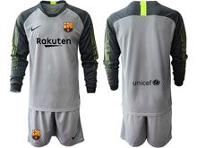 Mens 19-20 Soccer Barcelona Club ( Custom Made ) Gray Goalkeeper Long Sleeve Suit Jersey