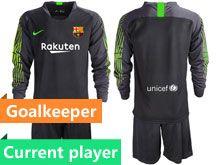 Mens 19-20 Soccer Barcelona Club Current Player Black Goalkeeper Long Sleeve Suit Jersey