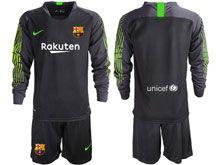 Mens 19-20 Soccer Barcelona Club ( Custom Made ) Black Goalkeeper Long Sleeve Suit Jersey