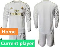 Mens 19-20 Soccer Real Madrid Club Current Player White Home Long Sleeve Suit Jersey