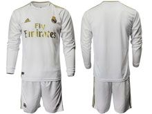 Mens 19-20 Soccer Real Madrid Club ( Custom Made ) White Home Long Sleeve Suit Jersey