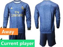 Mens 19-20 Soccer Real Madrid Club Current Player Blue Away Long Sleeve Suit Jersey