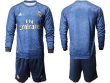 Mens 19-20 Soccer Real Madrid Club ( Custom Made ) Blue Away Long Sleeve Suit Jersey