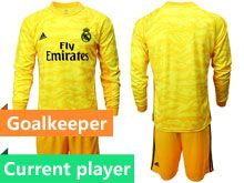 Mens 19-20 Soccer Real Madrid Club Current Player Yellow Goalkeeper Long Sleeve Suit Jersey