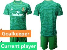 Mens 19-20 Soccer Real Madrid Club Current Player Green Goalkeeper Long Sleeve Suit Jersey