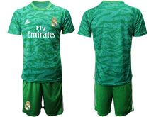 Mens 19-20 Soccer Real Madrid Club ( Custom Made ) Green Goalkeeper Long Sleeve Suit Jersey
